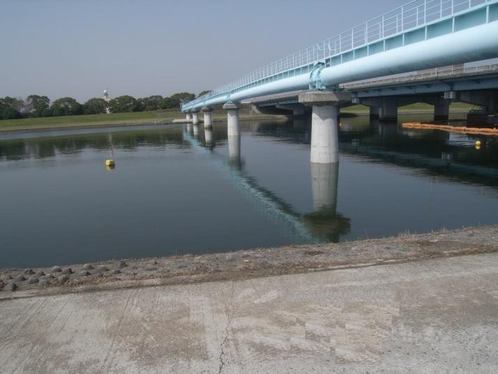 乙津川水管橋耐震補強工事(右岸側)